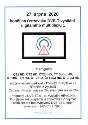 Na Ostravsku končí DVB-T vysílání