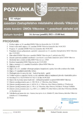 Pozvánka na 15. zasedání zastupitelstva městského obvodu Vítkovice